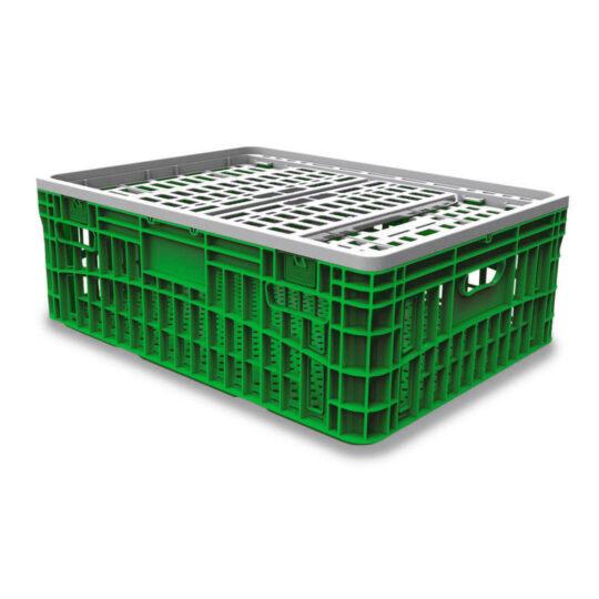 Jaula verde completa para transporte de aves 100 litros