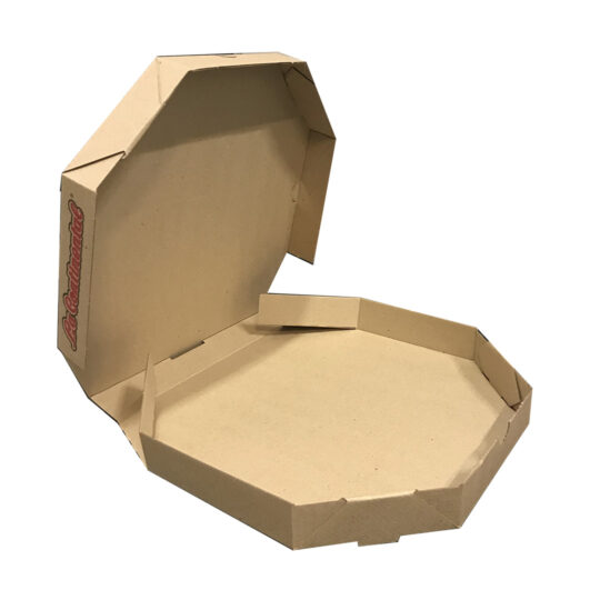 Caja para pizza de carton marron