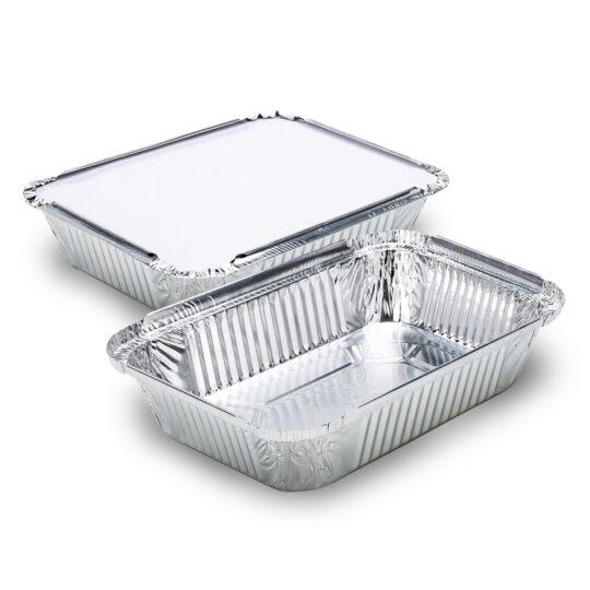 Bandeja de aluminio D5 rectangular 1150 ml con tapa