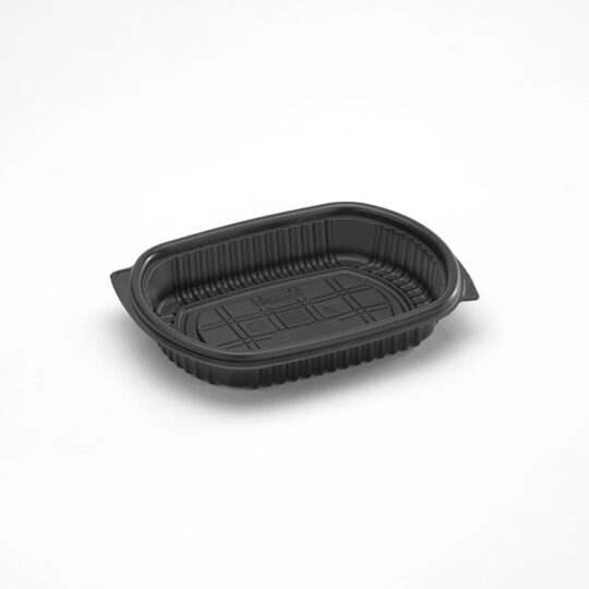 Bandeja 475 ovalada negra con tapa PET